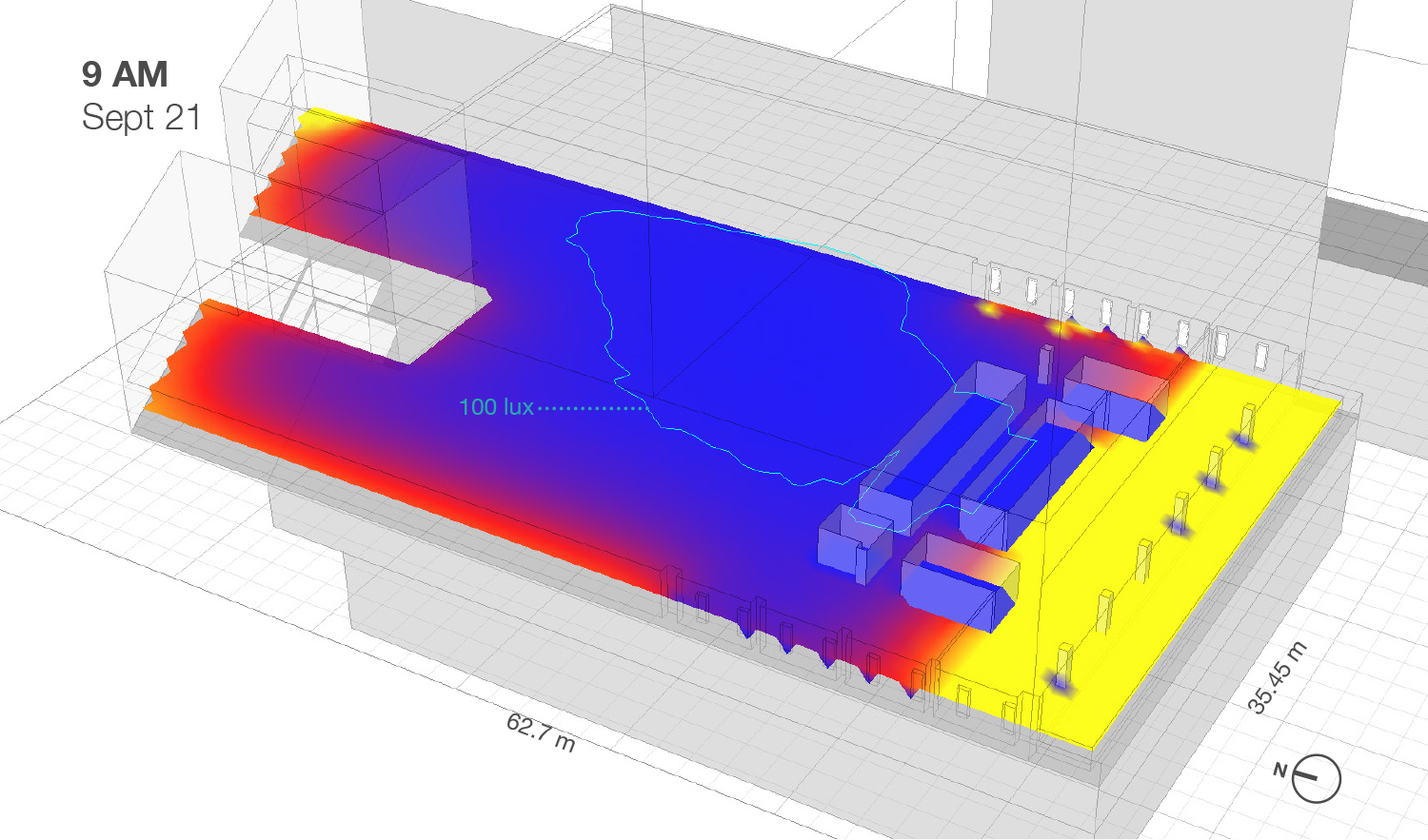 Example of Daylight Simulation performed by Prairie Architects