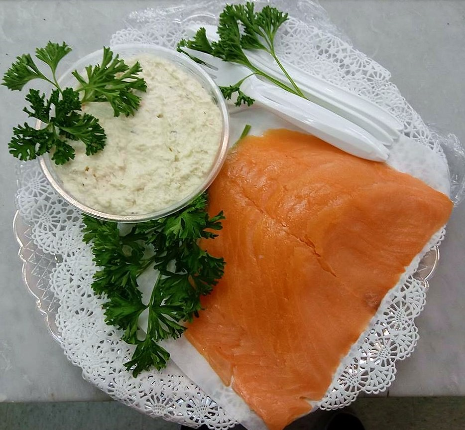 Lox and White Fish - The newest addition to our catering selection. sliced lox and white fish salad. this tray pairs perfectly with our bagel tray.$ Call for price.