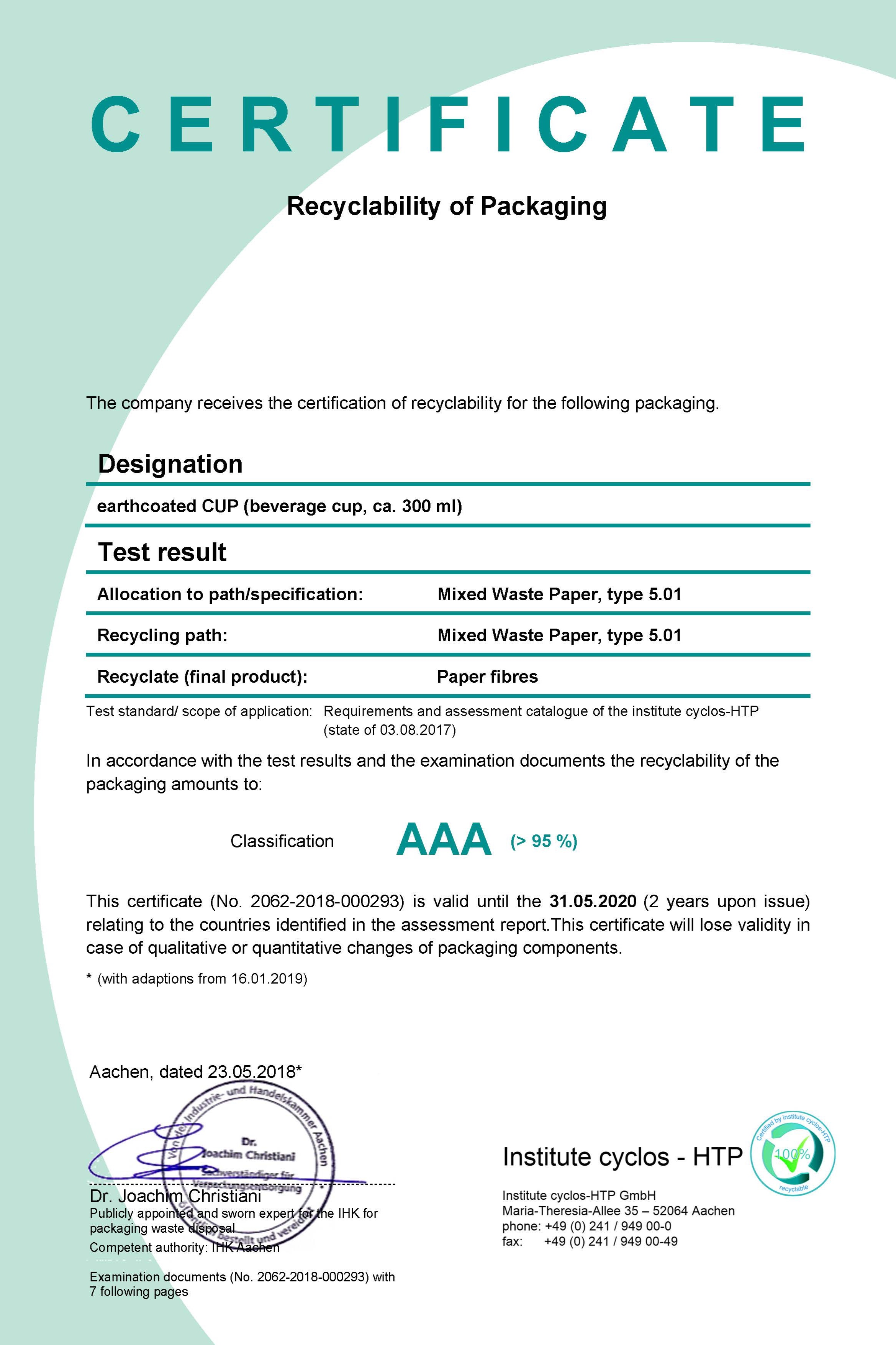 AAA Rating - Paper cups made with EarthCoating® qualify for AAA rating for EU recyclability.Click the image for full details.