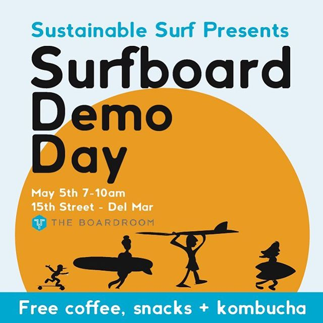@sustainsurf is hosting the demo and using paper #reCUPs made with #earthcoating to serve #locallyroasted coffee from @Mesteeso, small batch #kombucha from @HealthAde, breakfast pastries and a suite of boards from #Ecoboard project partners and more.