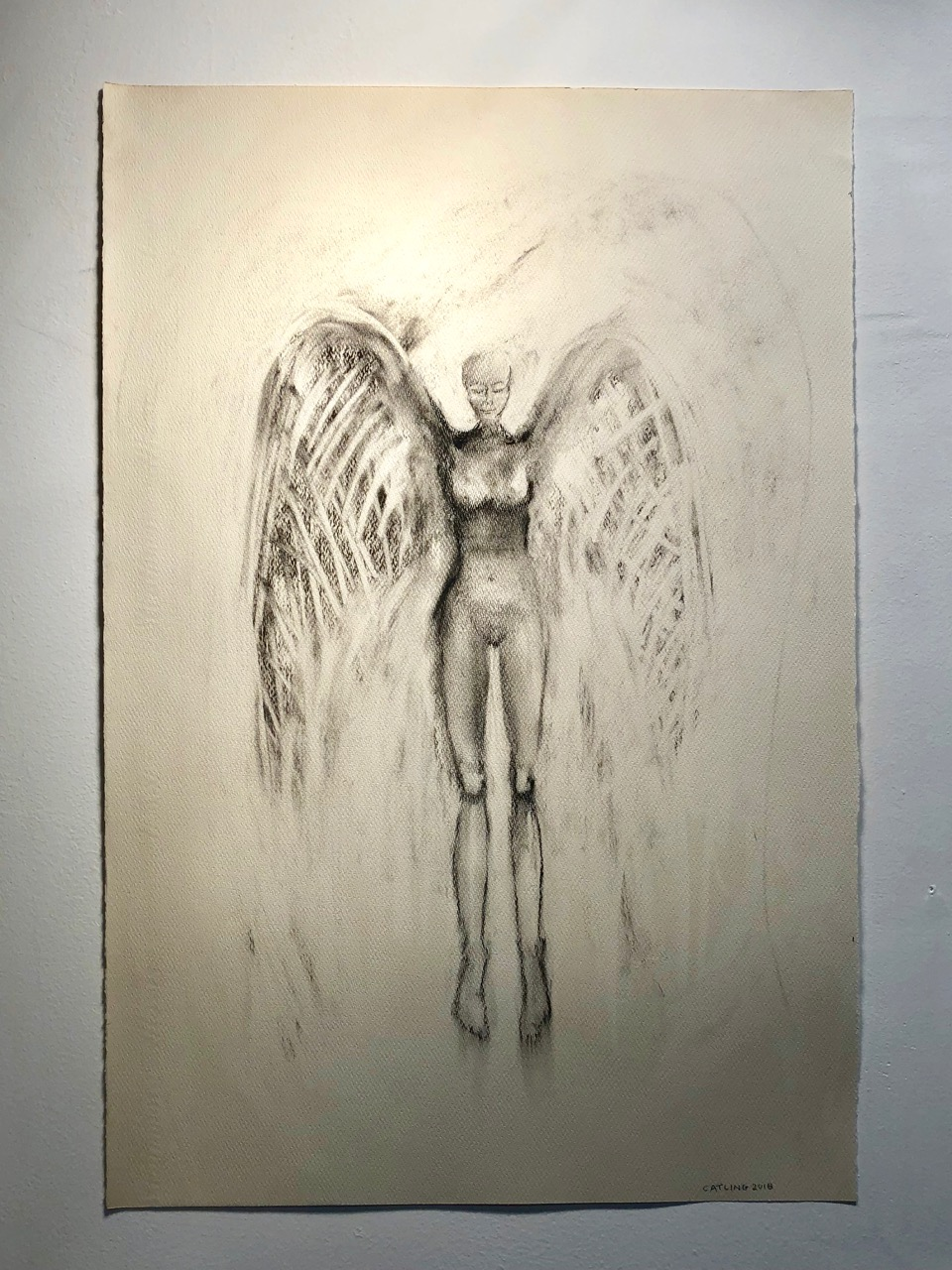 Guardian at rest   2018  Charcoal on paper  30 x 20""