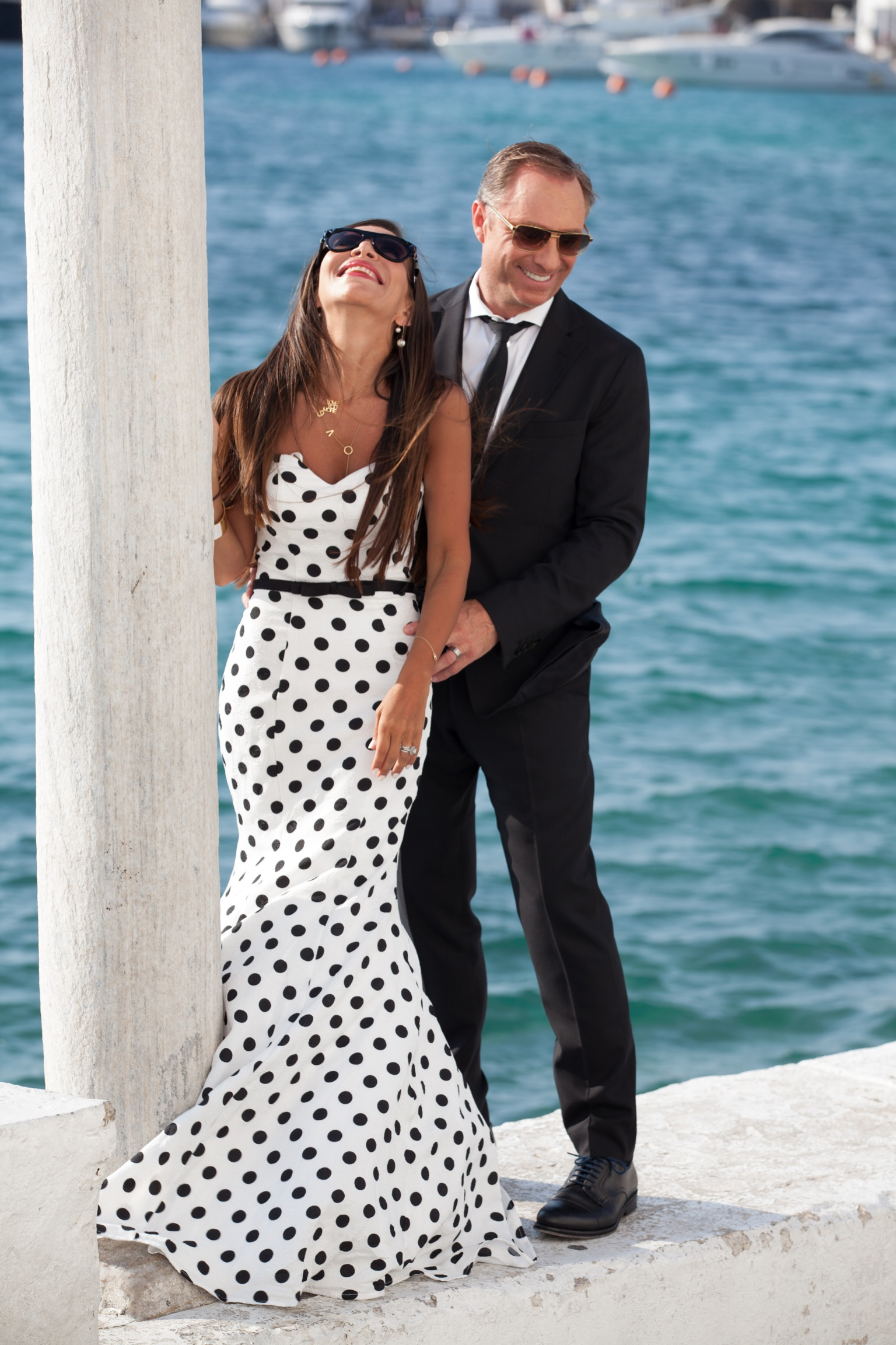 MYkonos - Floral and Polka Dot Sweetheart Mermaid Prom.Click here to buy this Gown By La Femme
