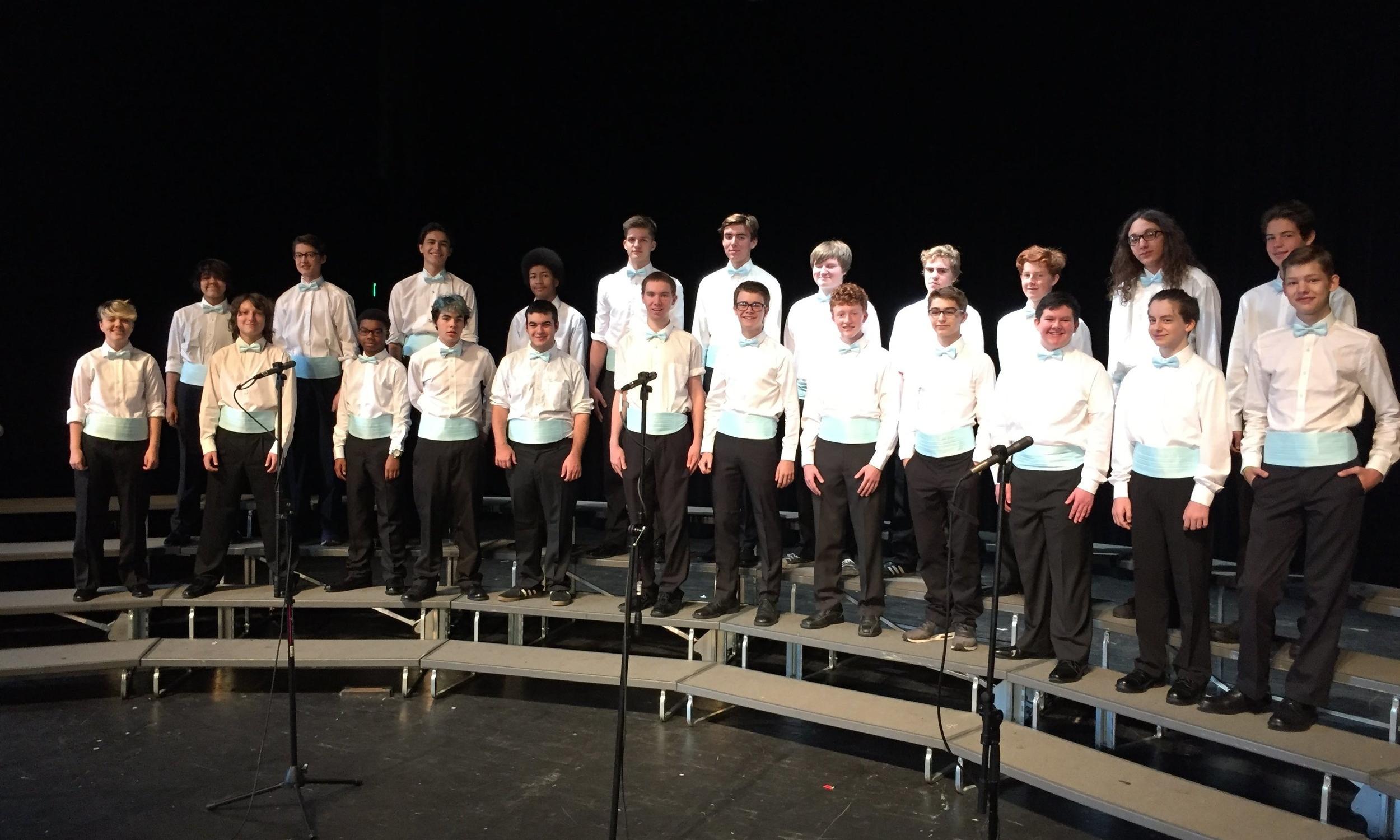 Men's Ensemble dress rehearsal for the Fall Concert, 2015.