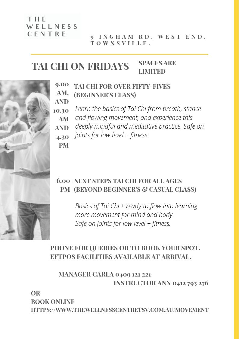 Tai Chi timetable — The Wellness Centre Tsv
