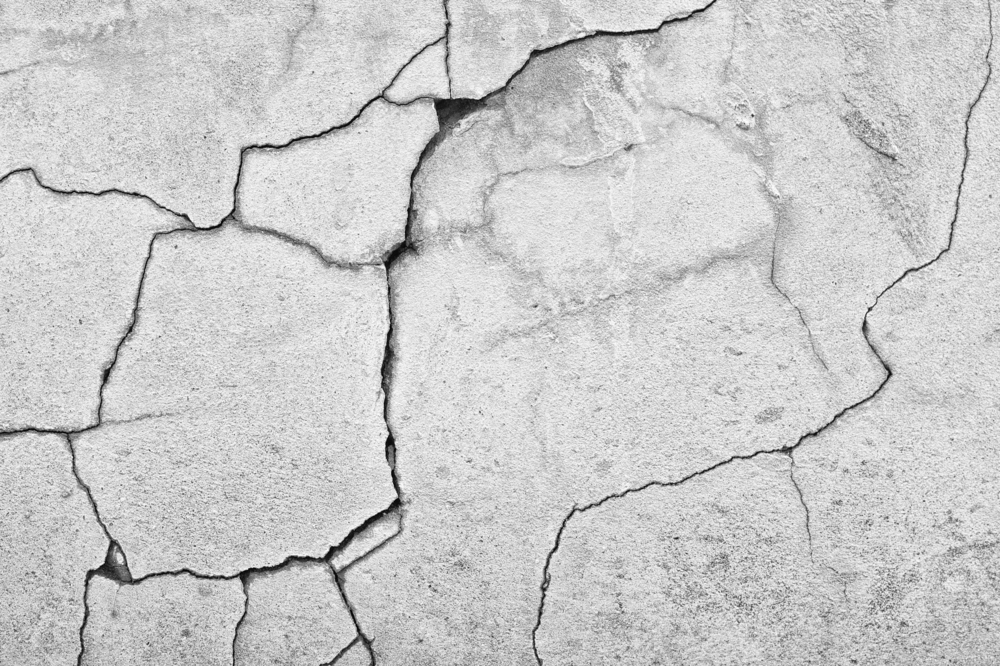 badly cracked concrete