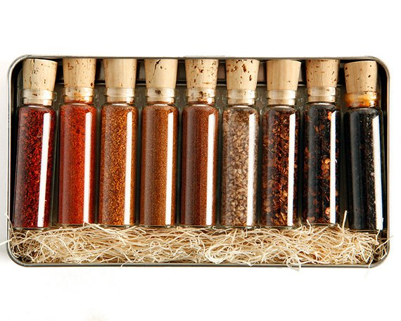 Hot Box Spice Assortment - My dad is a spaz & loves to add heat to everything he eats.