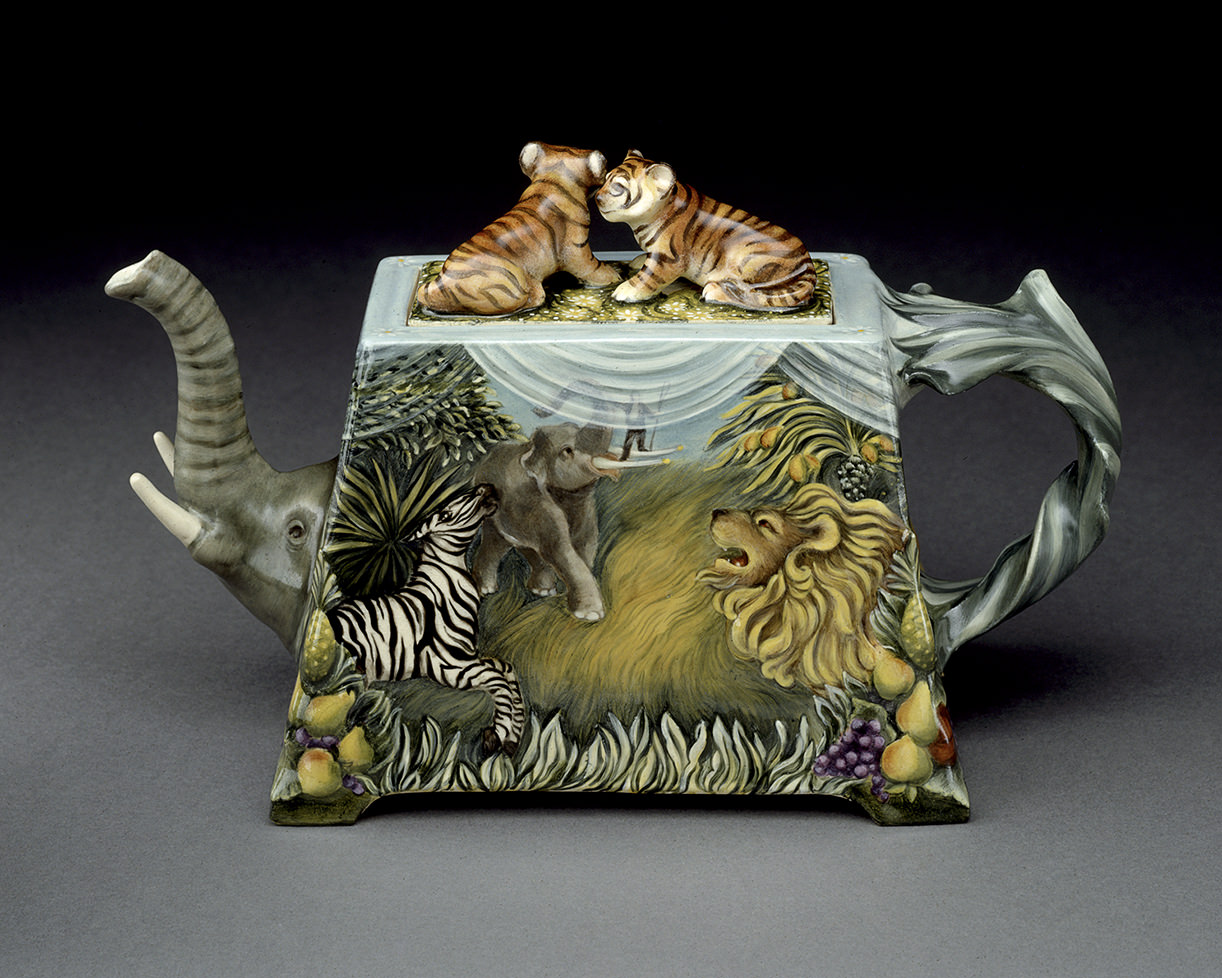 "Safari, 1998, View-Elephant, Zebra, Lion, Kamm Teapot Collection, View, 8"" x 12"" x 5"""