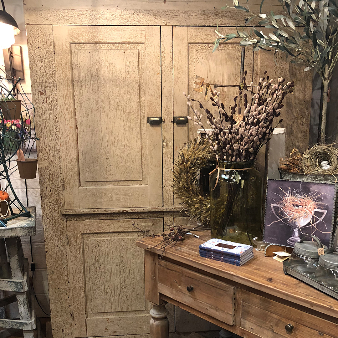 Old Farmhouse Cupboard - Ivory tones accented with aged crackled paint