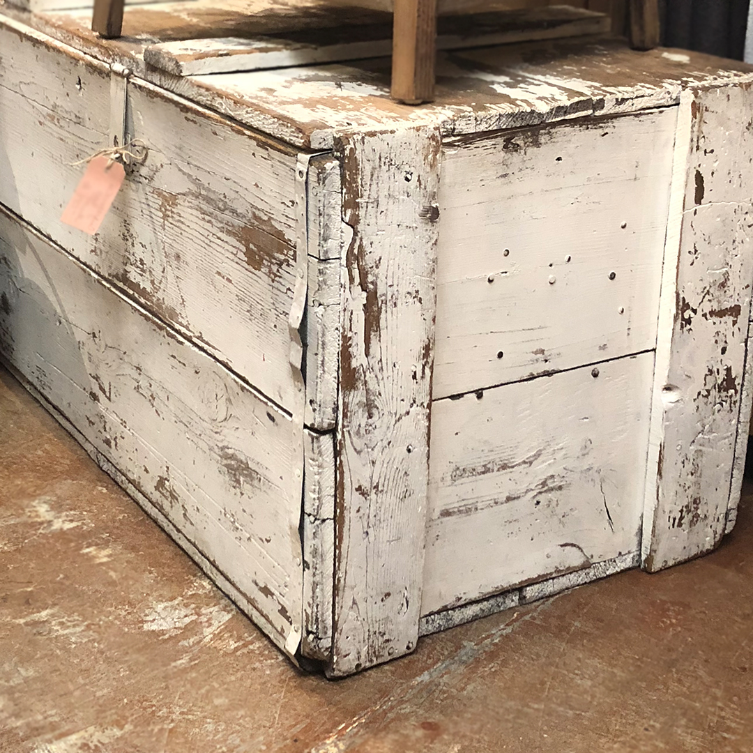 Antique Wood Trunk - Aged and chippy to perfection