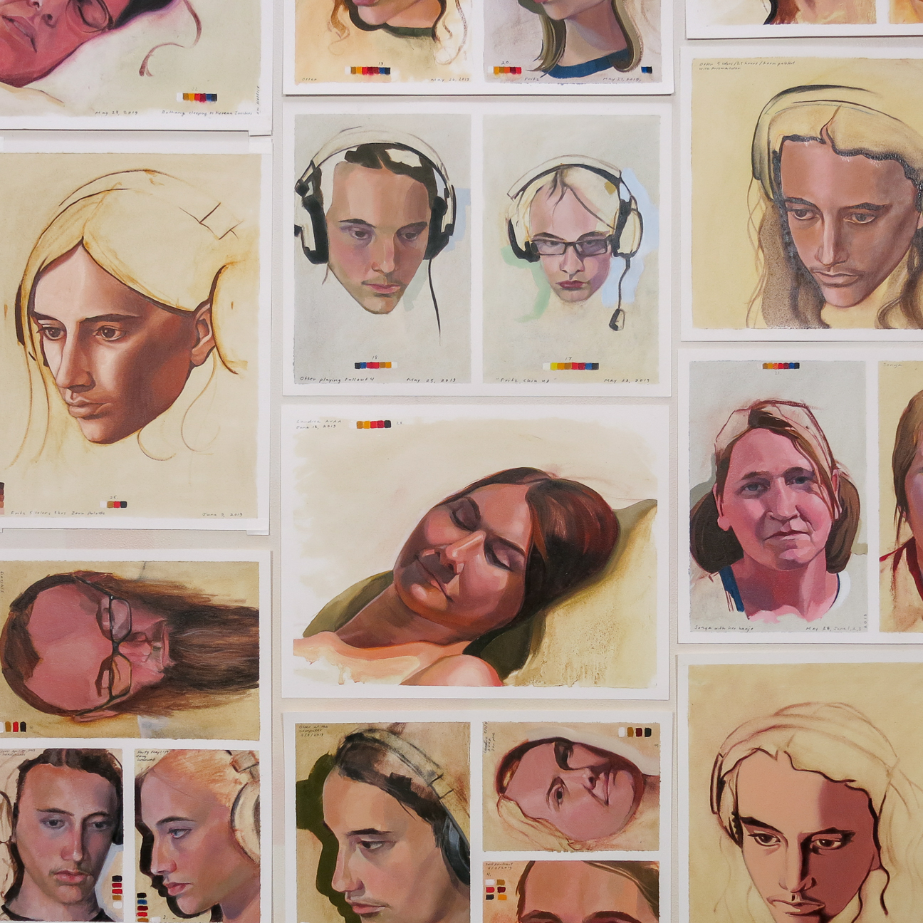 Gabel Karsten,  Study Wall: Studies From Life  (detail), oil on paper, 2019