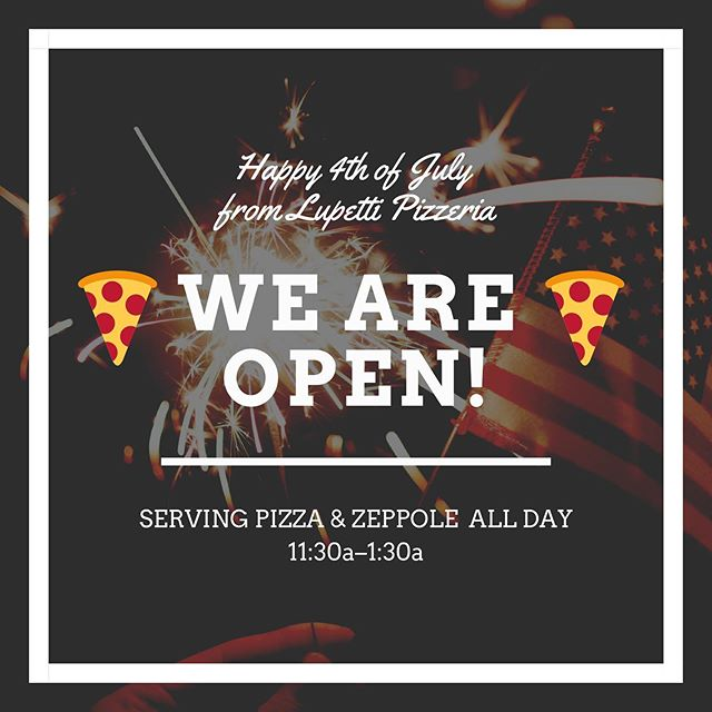 💥🇺🇸💥 HAPPY 4TH OF JULY! 💥🍕💥 Celebrate with us in The Arts District! We're rocking pizza and zeppole all day! And #wedeliver through all the major apps! #pizzaforall #independenceday