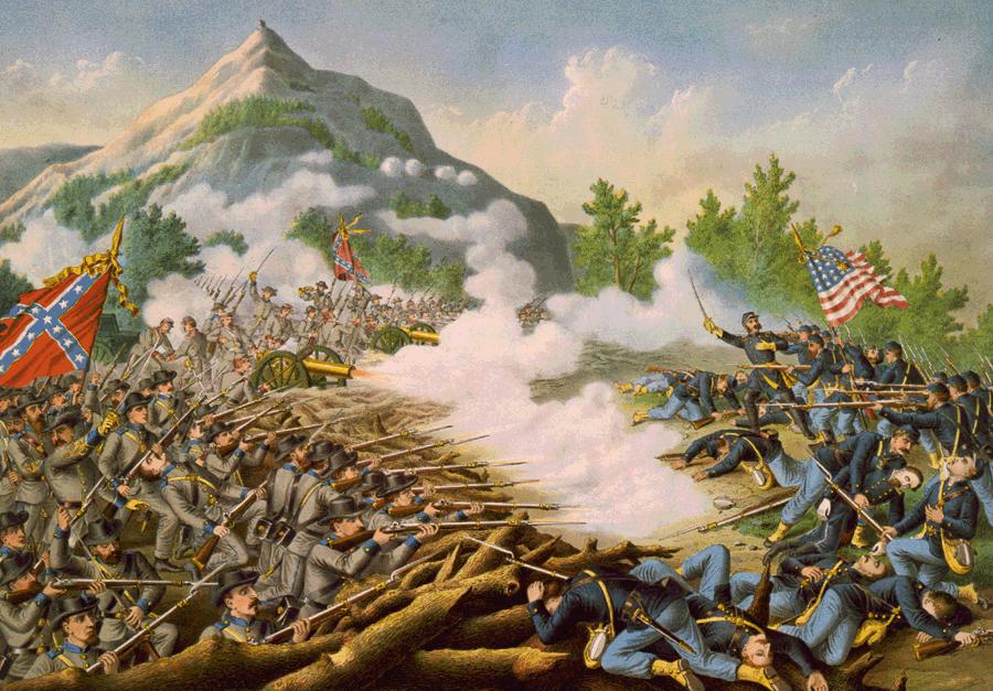 Battle of Kenesaw Mountain, lithograph by Kurz & Allison