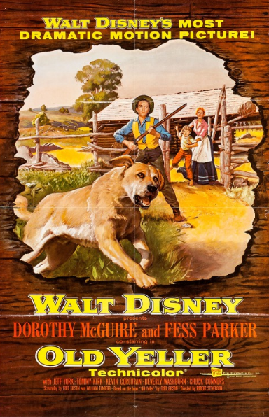 - Release Date: Dec.25, 1957Based on:Old Yeller (1956 novel by Fred Gipson)Directed by: Robert StevensonStarring: Dorothy McGuire, Fess Parker, Kevin Corcoran, Tommy Kirk, SpikeBudget: n/aBox Office: $6.3 million (domestic)After his father leaves home to work on a cattle drive, Travis Coates encounters stray dog whom he initially dislikes. However, after the dog saves his brother from a bear, the two become inseperable.