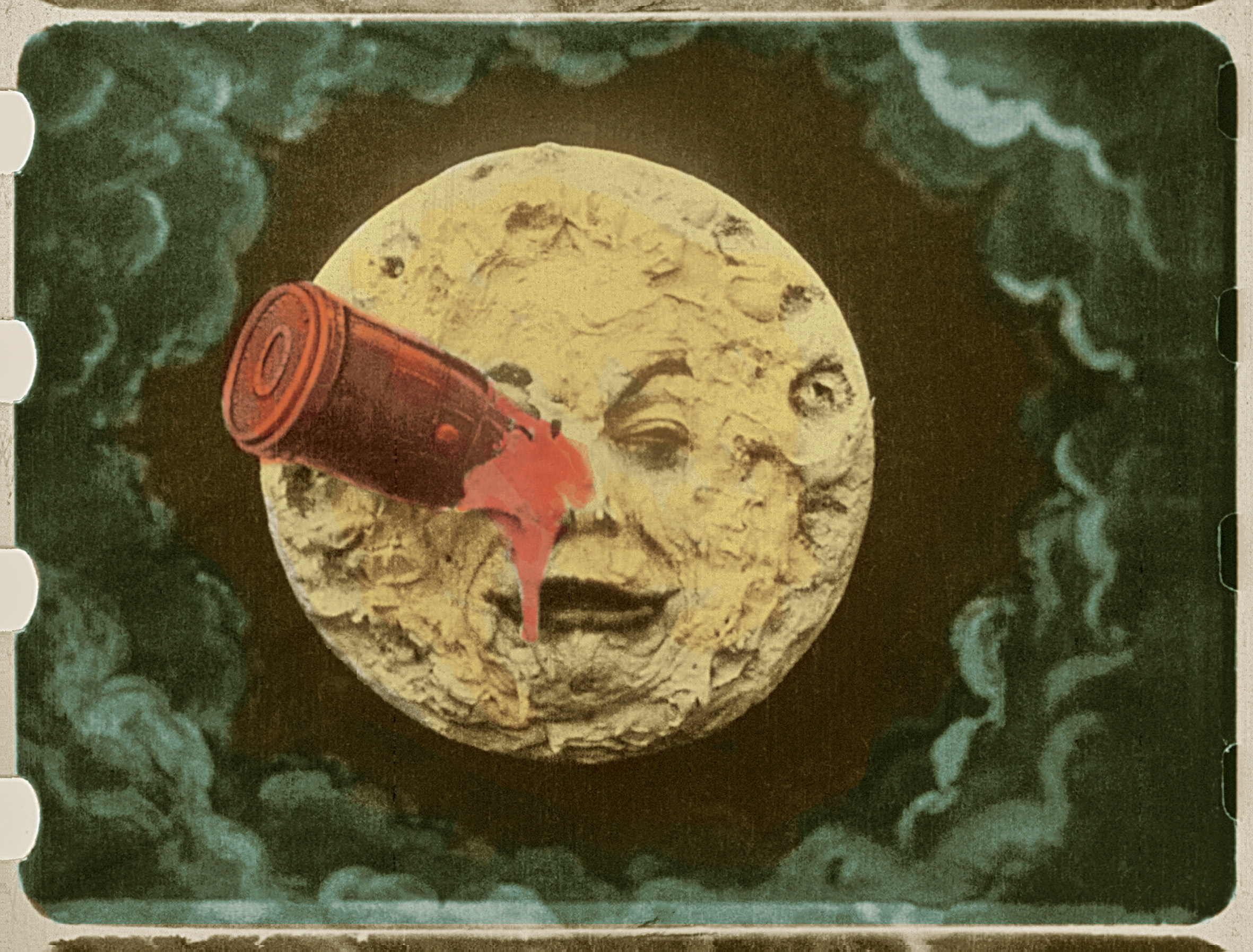 hand-painted still from Méliês' A Trip to the Moon