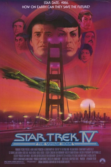 - Release date: Nov 26, 1986Based on: Star Trek (television series created by Gene Roddenberry)Directed by: Leonard NimoyStarring: William Shatner, Leonard Nimoy, DeForest Kelley, Montgomery Scott, George Takei, Walter Koenig, Nichelle Nichols, Catherine HicksBudget: $21 millionBox office: $133 million To save earth, Kirk and the crew of the Entreprise go back in time to 1980s San Francisco.