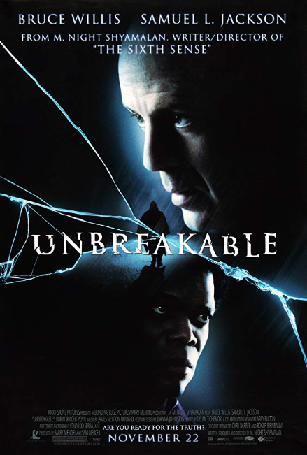 - Release date: Nov. 22, 2000Directed by: M. Night ShyamalanStarring: Bruce Willis, Samuel L. Jackson, Robin Wright PennBudget: $75 millionBox office: $248.1 millionSecurity Guard David Dunn, the sole survivor of a train crash, learns he may be more than an average human.