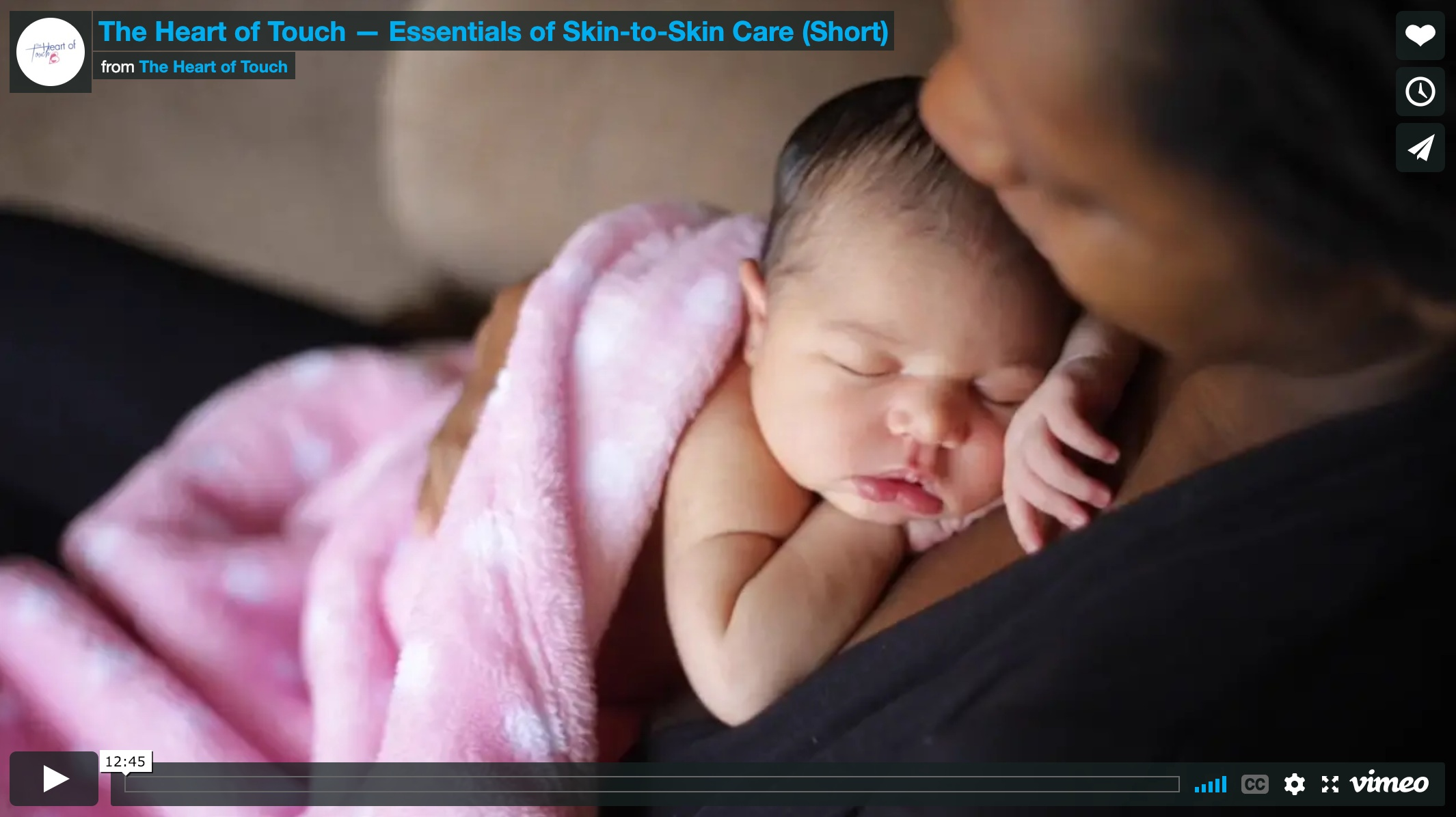 heart of touch film - Angie Chisholm, CNM, produced an educational film & teaching series called the Heart of Touch about the benefits of skin-to-skin after birth. Useful in Centering groups, childbirth education, and pre-discharge settings.
