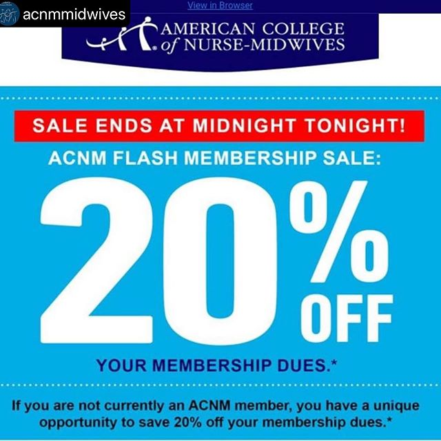 Big News! ACNM Flash Membership Sale ends at midnight! Save on both national and Oregon Affiliate membership by joining today!  #repost @acnmmidwives ・・・ This is a great time to join ACNM!  The larger our membership, the louder our voice! How do non-members save 20%? Join ACNM over the phone – our membership team is ready to take your call through 9:00 pm EST tonight. Phone:  240.485.1813 OR Email: membership@acnm.org or fax: 240.485.1818 the Membership Application Form before midnight tonight.  Please note that you must pay your dues in full to qualify for the sale price. Don't miss this amazing, one time offer!