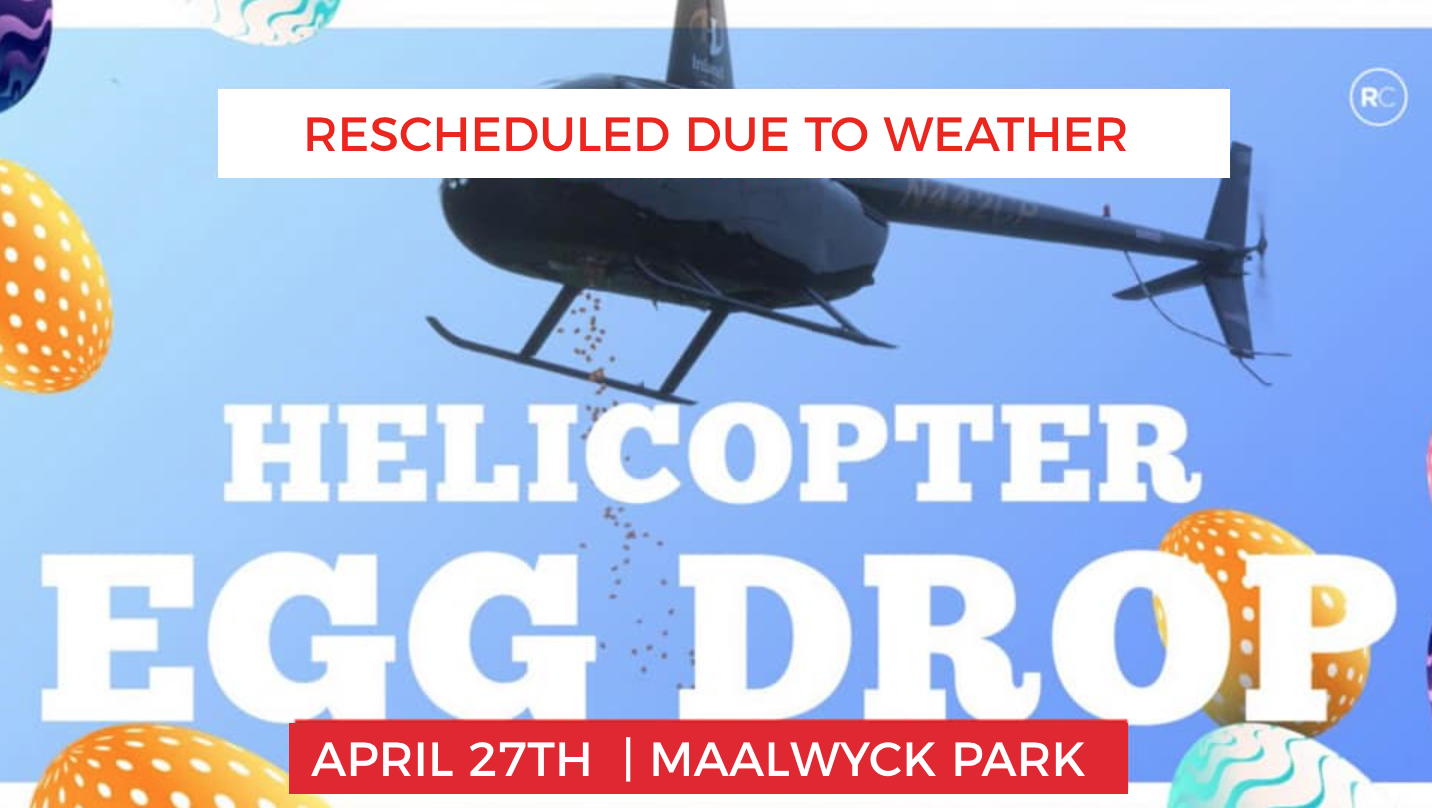 Our annual Helicopter Egg Drop event is here!   This community-wide event, in its third year running, has brought thousands of families together for a day full of fun and memories that are sure to last a lifetime.  This year's event includes: • Helicopter dropping 30,000 Easter eggs* Be onsite by 12:30pm to see the helicopter • Bounce houses • Live DJ • Food trucks* • Easter Bunny • Color-Run obstacle course And more!  Join us for the Easter Egg event of the year!  *Egg Hunt participants ages 2-10. *Meals are not included in free registration. Please bring cash if you would like to purchase food from food trucks.  *No personal easter baskets. We provide them.  *Release form(s) and ticket(s) are mandatory at check in. Each child needs a release form.