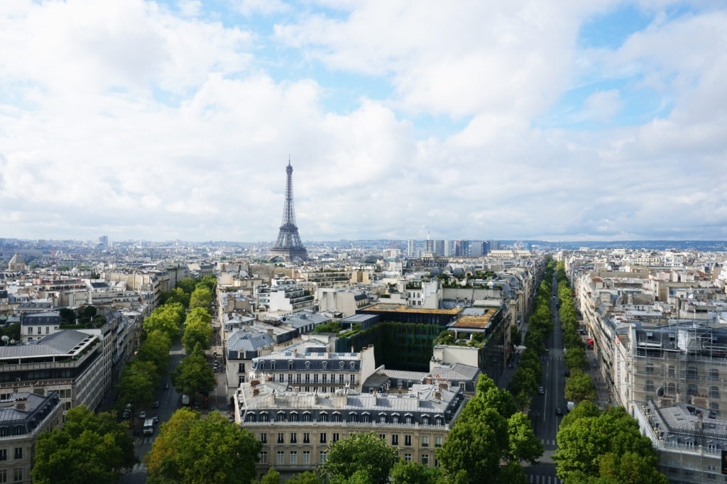 For 360 °  views and a postcard perfect photograph of Paris: the top of the Arc De Triomphe will not disappoint. It'll only cost you 8€ and a little bit of effort (40-step climb) for the ultimate view of Paris.