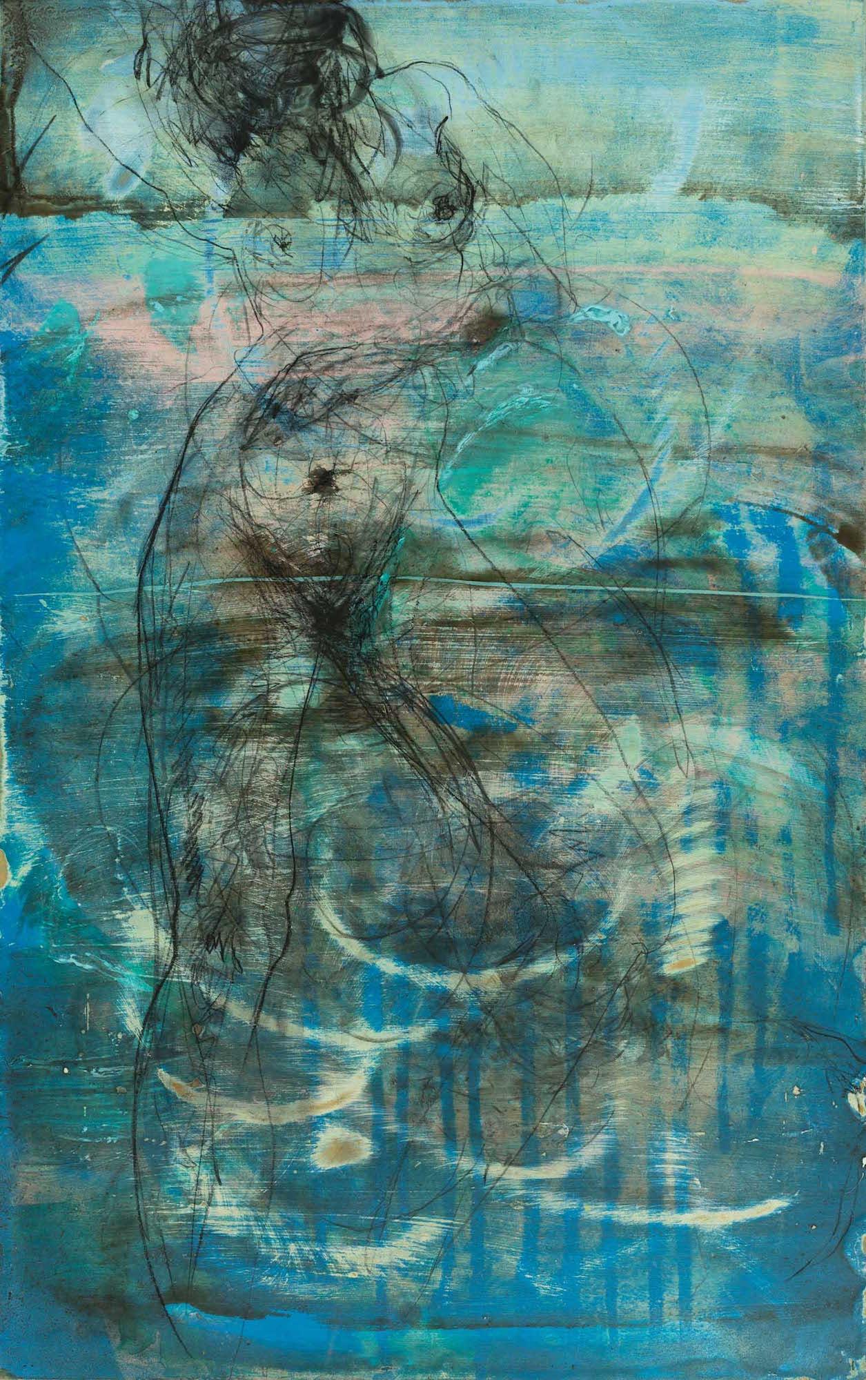 Blue Dusk.  Mixed Media On Canvas. 80 x 50.
