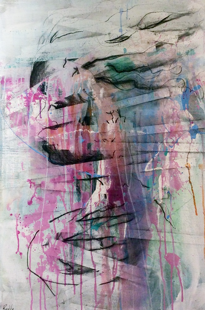 Running Girl. Mixed Media On Canvas. 90 x 60.