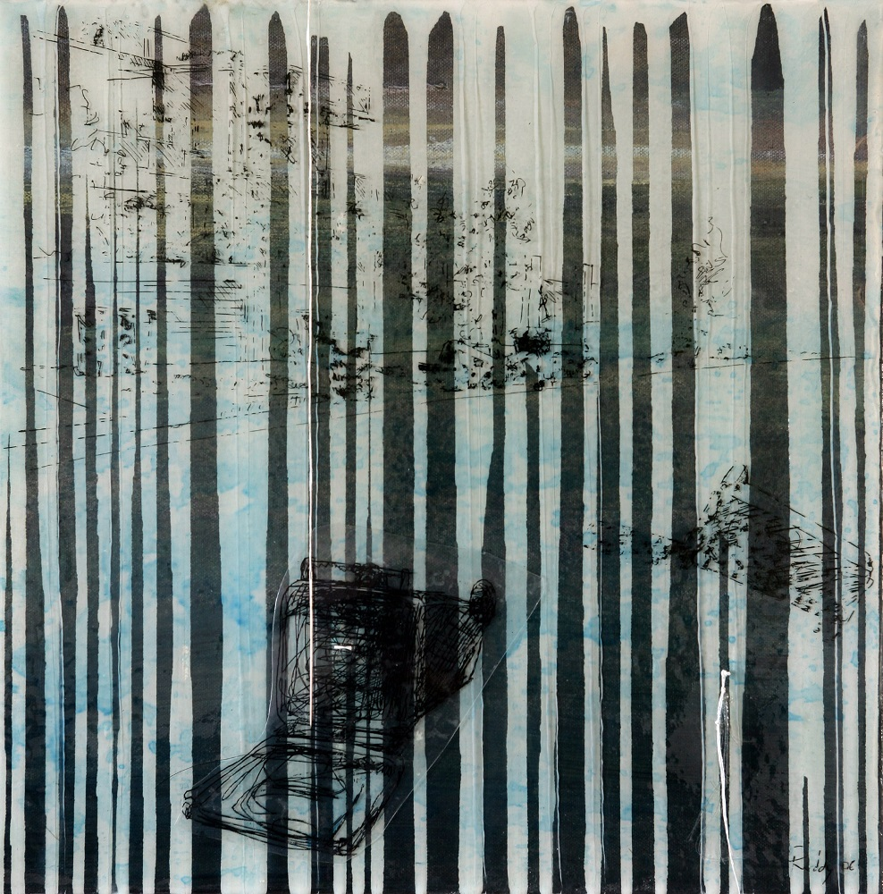 Remnants Blue.  Mixed Media Acrylic Oil Needles and Cotton Thread Plastic Ink Transfer Prints Resin on Paper and Canvas. 40 x 40cm