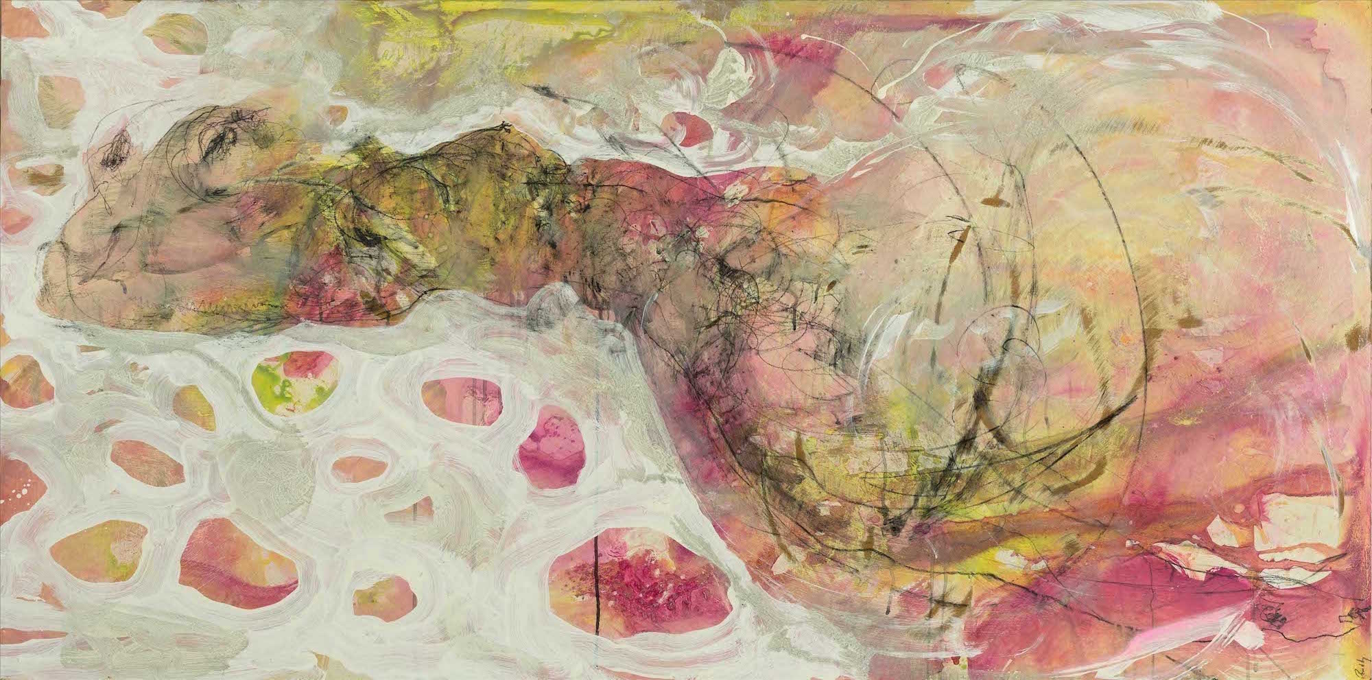Mystical River.  Mixed Media On Board. 180 x 90.