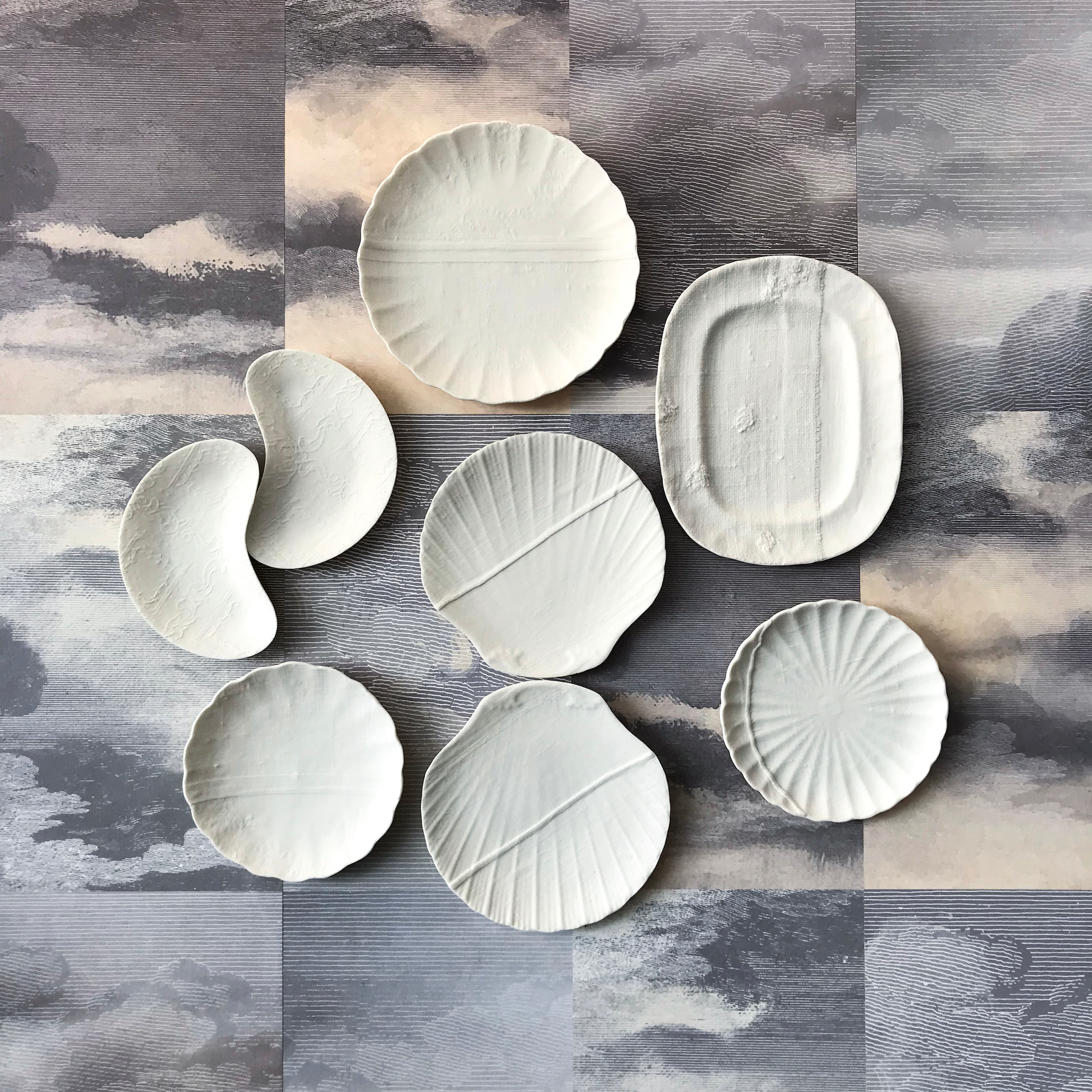 Composition in white porcelain