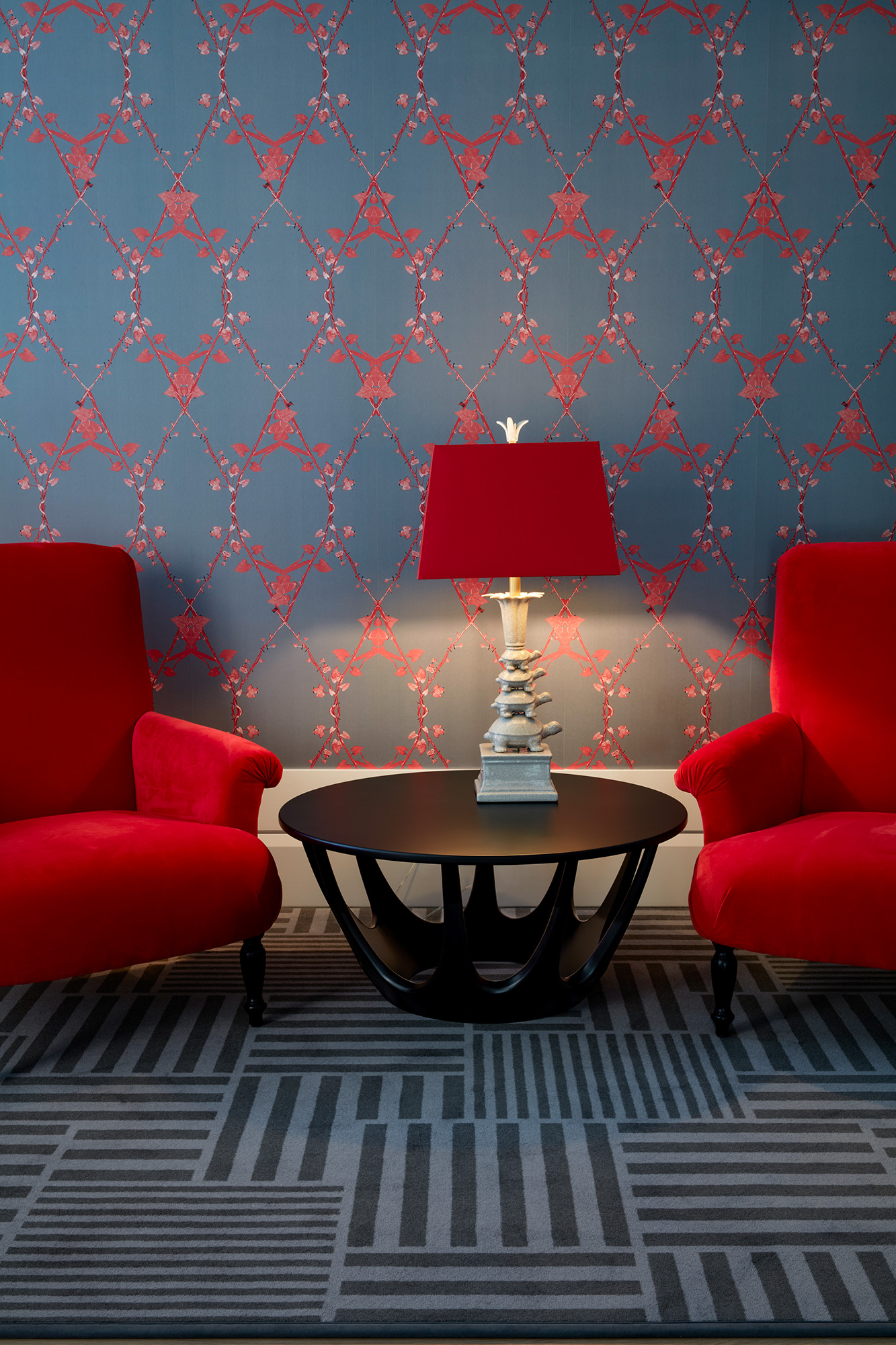 Junior Suite with Morning Glory wallpaper in custom Red