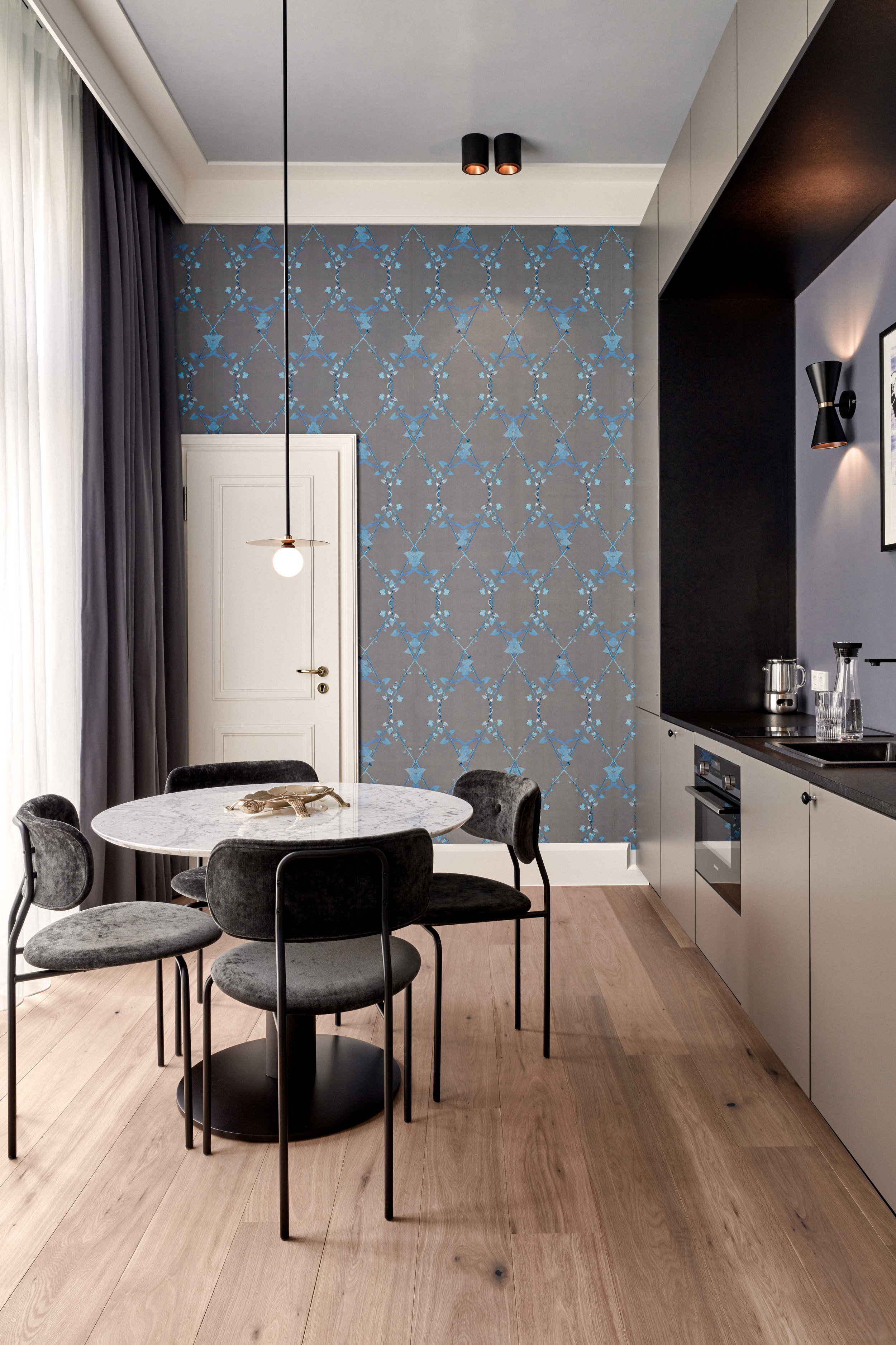 Apartment Suite with Morning Glory wallpaper in custom Turquoise