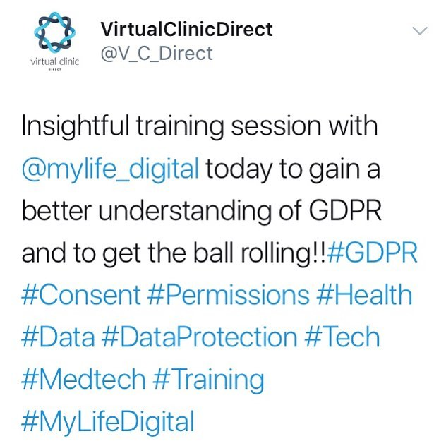 Follow us on Twitter to also see updates #GDPR #consent #permissions #health #tech #medtech #mylifedigital