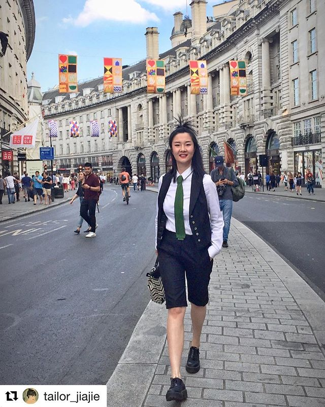 One of our students GiGi showing off her handmade suit on Regent Street get_repost ・・・ #Repost @tailor_jiajie ・・・ Thanks  to The Savile Row academy gave me a opportunity .This is my first lady's suit made in 2017 .. There's so much more need to learn . Long way to go ...exciting ..