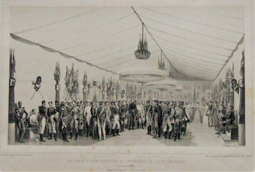 Бал в Вознесенском лагере, в честь прибывших императора и императрицы. В центре зала среди офицеров в черном мундире стоит император Николай I, рядом генерал кавалерии де Витт.