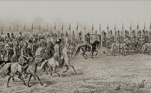 Смотр кавалерии, проводимый Императором и Императрицей в лагере в Вознесенске 7 сентября 1837 г.