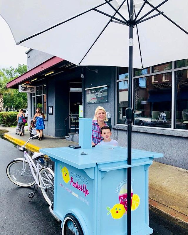 """Pucker Up, Ya'll! We are hanging out at @breakwaterbeaufort today, selling LemonAid through lunch! Stop by and say """"hello""""! 🍋#puckerup #lemonaid #donaid #cleanwater #cleanwaterforall"""