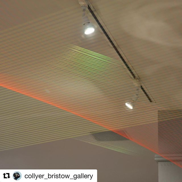 "#Repost @collyer_bristow_gallery ・・・ 1st in our #Artistfocus today, part of current exhibition #ReAssemble is @kateterryartist ""Touching the Intangible  Finely netted over Hermione Allsopp's Ornamental Gardens, Kate Terry's Installation #47 (2019) marks out a territory without all the heavy-handed invasiveness we might have come to know as normal. Her practice incorporates the partial which may be the beginning of something, what's left at the end or simply a segment of a larger story. Almost impossible to photograph, her threaded work becomes like an embracing shadow which we can only see part of at any one time."" @jillaroo @wsimagazine  Kate Terry is a graduate of Manchester Metropolitan University (BA hons Sculpture 1999) and the University of Guelph, Canada (MFA Fine Art 2002). She has had recent solo exhibitions at Broadway Gallery, Letchworth; Eli and Edythe Broad Art Museum, USA; Volker Diehl Cube, Berlin; and Virginia Commonwealth University in Qatar, and recent exhibitions in Paris, Berlin, and Vienna. She co-curated 'New Relics', a large survey Sculpture exhibition with Tim Ellis in 2018. She teaches Sculpture and Drawing & Conceptual Practice at Camberwell College of Arts, London. Her work explores architectural space, geometry, balance, and colour. Currently she is developing new works for sculpture gardens and the public realm.  Exhibition continues to 5pm, Weds 29 September  Curated by @rosalindnldavis  4 Bedford Row, #london, WC1R 4TF.  Nearest Tubes Holborn/Chancery Land  #londongallery #galleryinalawfirm #contemporaryart #sitespecificworks #thread #installation  #art #london #artexhibition #artgallery #artist #contemporarypainting #sculpture  Photos courtesy of Michaela Nettell and @davidxgreen"