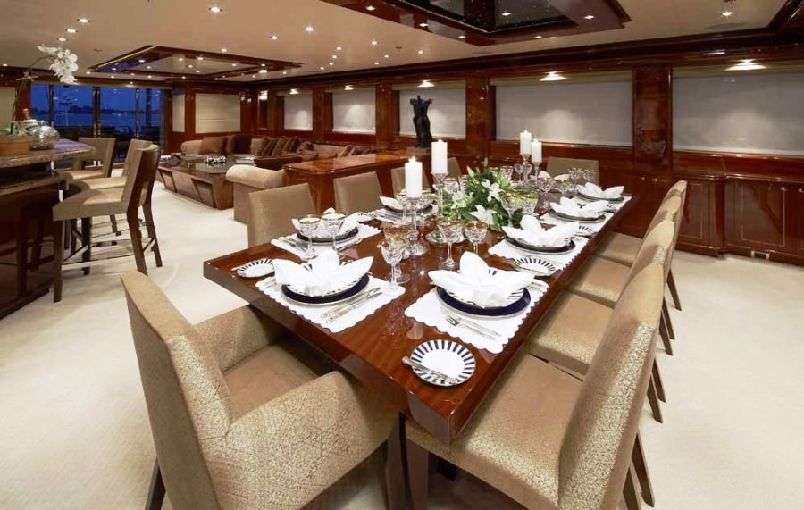 Luxury Charter Yacht Lady Leila Formal Dining