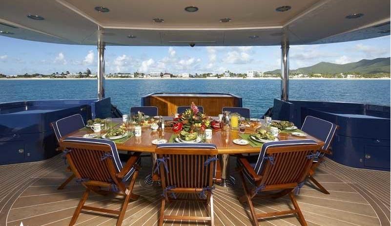 Luxury Charter Yacht Lady Leila Aft Deck Al Fresco Dining