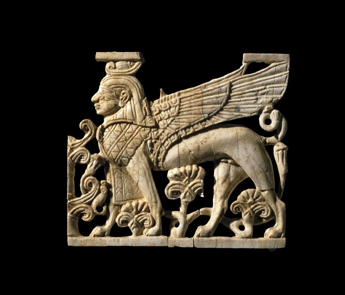 Image source for  Ancient as the Hills , Human-headed winged Sphinx panel, Phoenician, Fort Shalmaneser, 900-700BC. Image credit: British Museum Images.