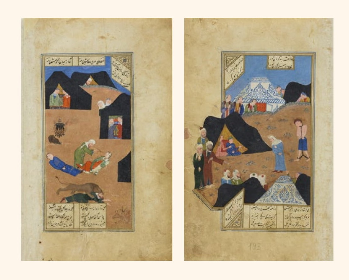 (L) Layla and Majnun Faint on Meeting, Miniature, gouache, Iran, 1431, Timurid Dyansty, The State Hermitage Museum, St Petersburg. Photograph: The State Hermitage Museum.  (R) Majnun Brought to Layla's Tent by the Old Woman, Miniature, gouache, Iran, 1431, Timurid Dyansty, The State Hermitage Museum, St Petersburg. Photograph: The State Hermitage Museum.
