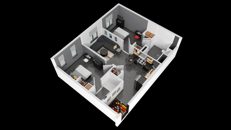 3D Rendering of Walnut Floor Plan