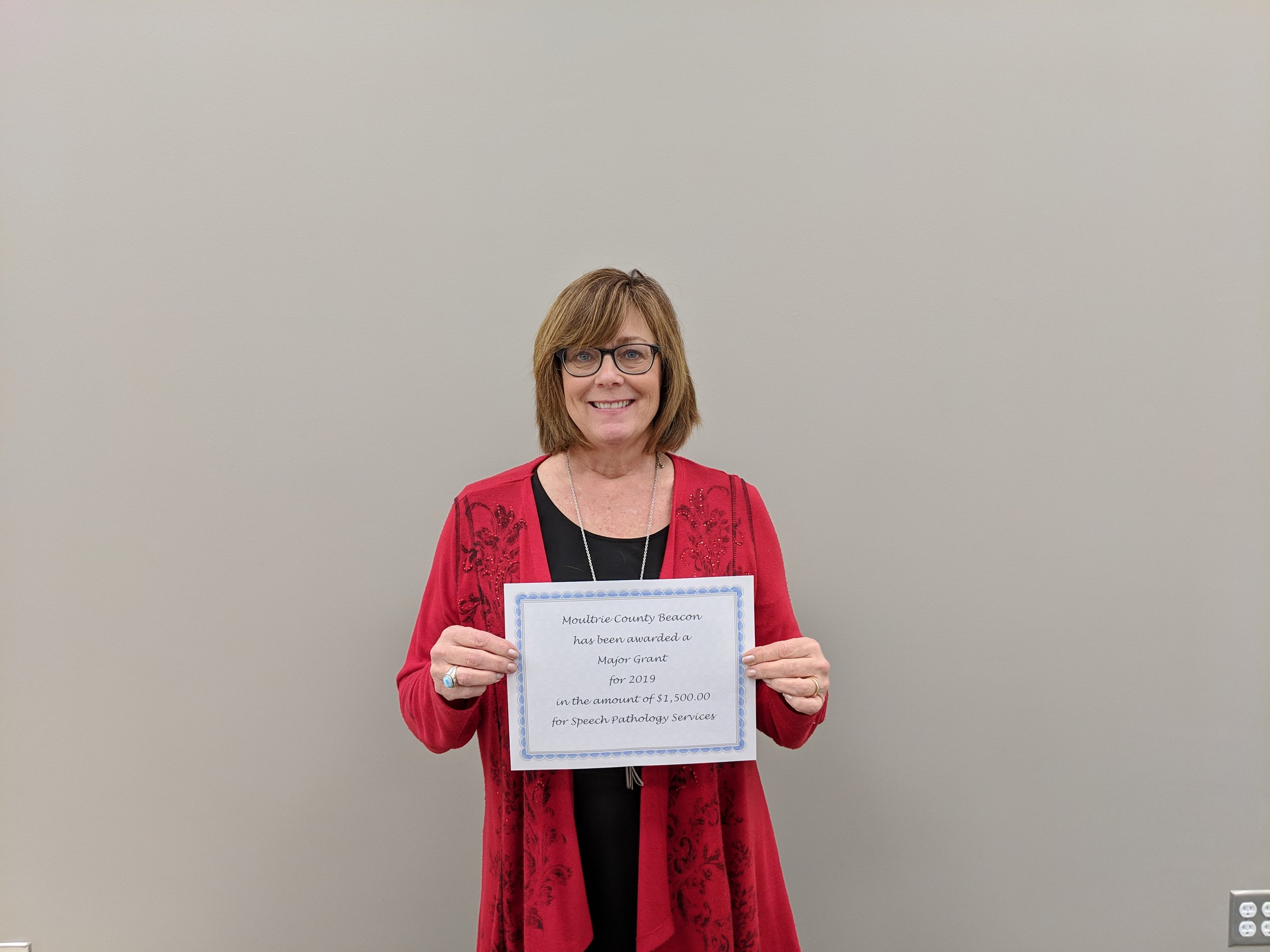 $1,500.00   Moultrie County Beacon - Susan Rauch  Speech - Language Pathologist Services  Major Grant