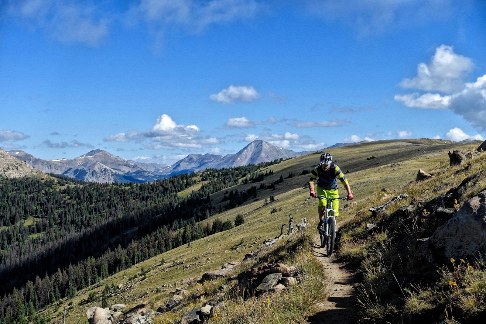 The Monarch Crest trail follows the top of the Continental Divide for miles. Rider: Marcel Slootheer. Photo: Greg Heil.