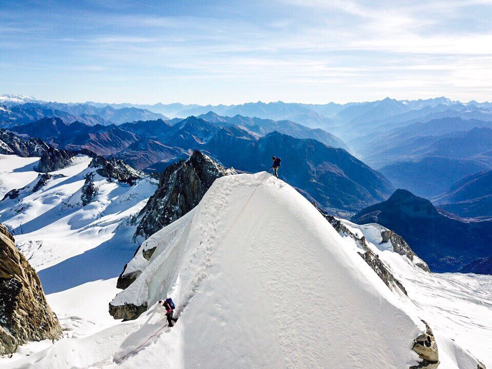 "Liv Sansoz and Mathéo Jacquemoud climbing the famous ""Demi Lune"" section on the Kuffner Ridge. Credit: Mathis Dumas."