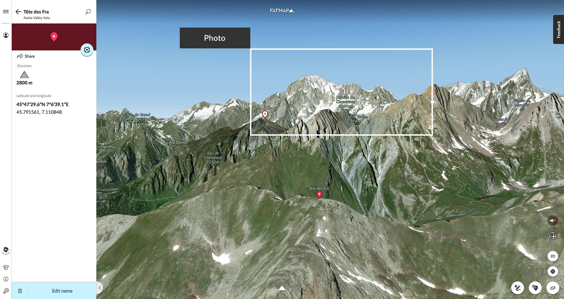 Ben's position on the Téte des Fra.  Click through to see his Waypoint!