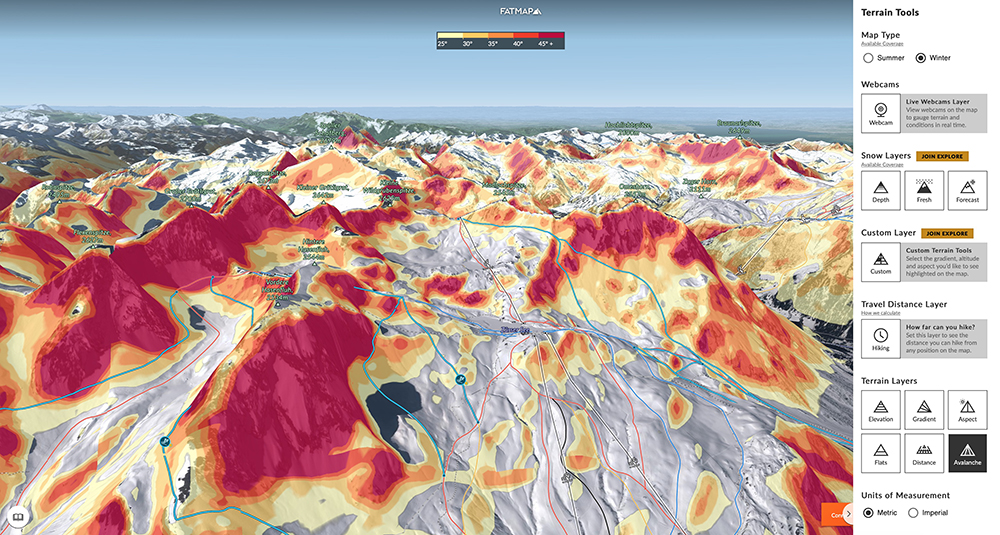 Areas of high avalanche risk are clearly visible in the fantastic freeride area of St Anton, Austria