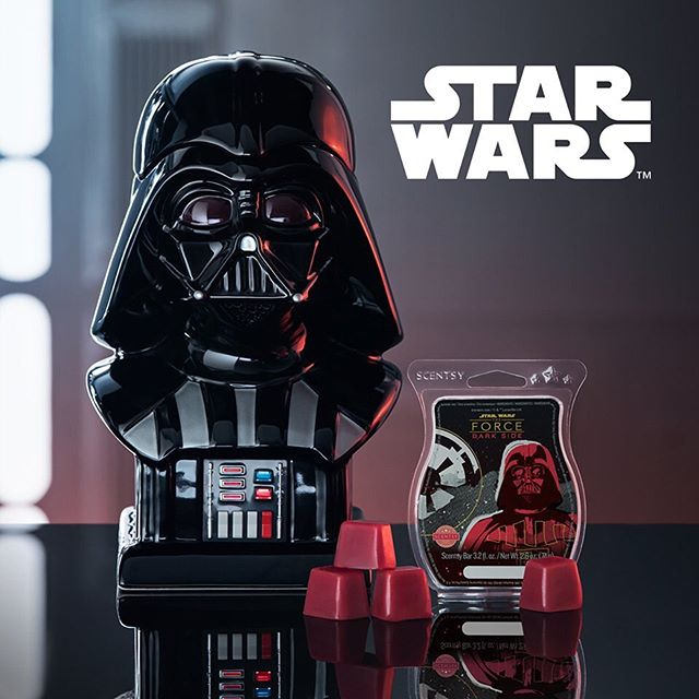 Eeekkk! Two of my favorite things coming together! The release date for our highly anticipated Darth Vader™ Scentsy Warmer has finally been announced....SEPT. 19TH!! 🖤 Give yourself to the dark side — and seduce any Star Wars™ fan — with this most-impressive Darth Vader Warmer. Besides his imposing frame, it's the details that make his presence truly fearsome, from the light-up uniform to the TIE Fighter-shaped cutouts in back that cast ominous silhouettes on any surface. 🖤 Star Wars™: Dark Side of the Force Scentsy Bar: feel the power of this fully armed and operational fragrance, churning with lavender, Madagascar ginger, vetiver and agarwood. **PLEASE MAKE SURE YOU GO TO ORDER THIS ON MY SITE AS SOON AS IT RELEASES ON 19TH AS IT IS ONLY AVAILABLE WHILE SUPPLIES LAST** This will very likely sell out within the first day, or even first hour!