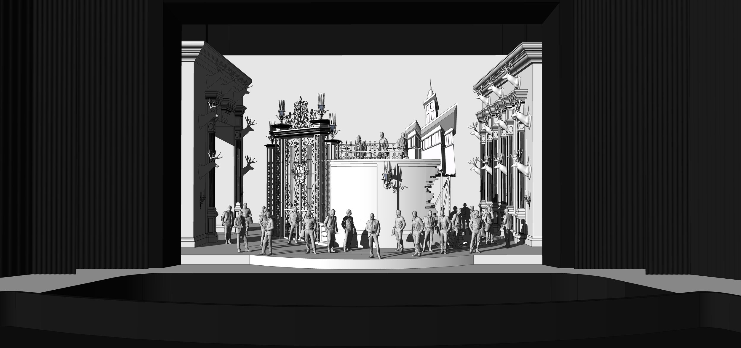 FINAL DESIGN | Act 1 Scene 1 - The Grounds Near Ravenswood Castle - SketchUp Model