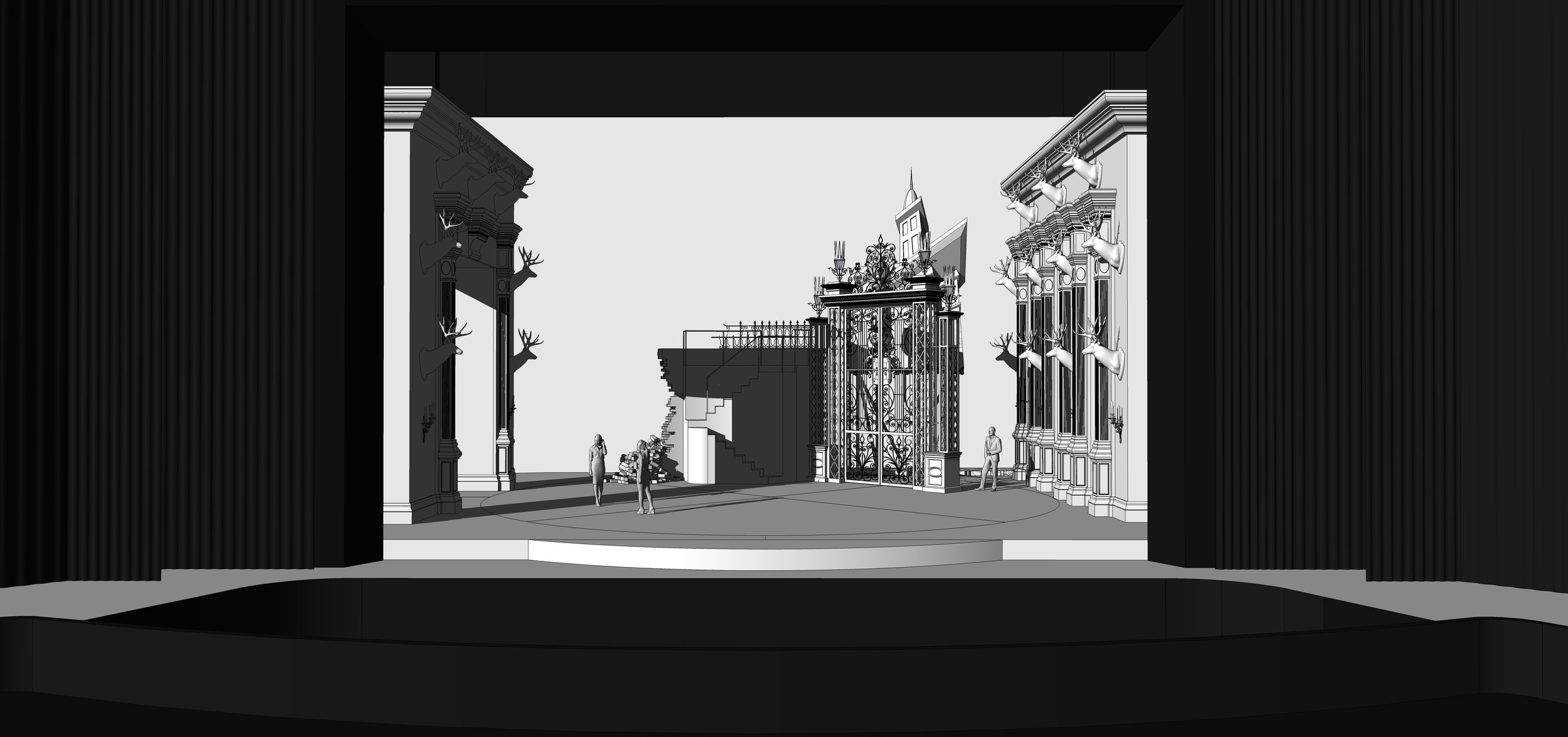 FINAL DESIGN | Act 1 Scene 2 - The Grounds Near Ravenswood Castle - SketchUp Model